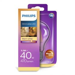 Philips LED Classic WarmGlow Filament 5,5W (40W) Dæmpbar E27