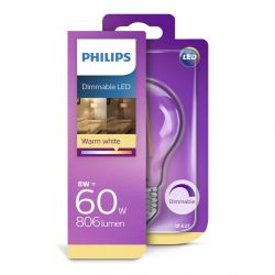 Philips LED Classic Filament 8W (60W) Dæmpbar E27