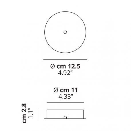 Studio Italia Design Baldakin rund (Radial op til 2 lamper) Ø12,5 - Hvid