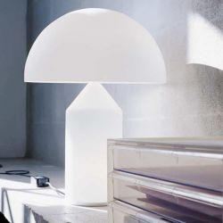 Oluce Atollo bordlampe - Medium - Opal glas