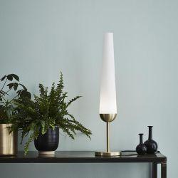 Bern bordlampe - Børstet messing/hvid
