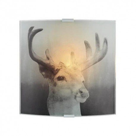 Markslöjd Deer væglampe - Glas m/motiv