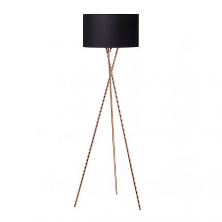 Uptown gulvlampe - Kobber m. sort lampeskærm