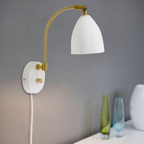 Deluxe Væglampe - Hvid/messing