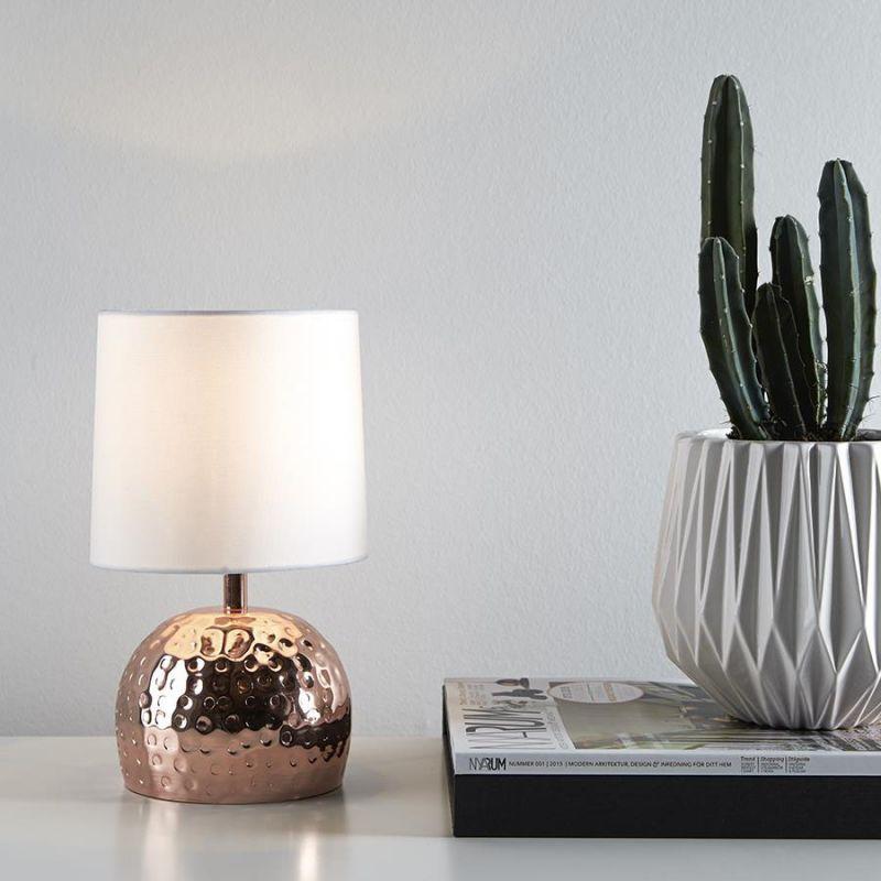 Markslöjd Hammer bordlampe Kobber m hvid sk u00e6rm