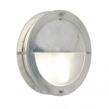 Malte væglampe m/halvskærm - Galvaniseret stål