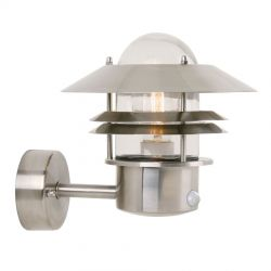 Blokhus udendørslampe m. sensor - Rustfrit stål - Nordlux