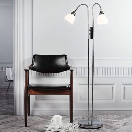 Nordlux Ray dobbelt gulvlampe m/lysdæmper - Krom