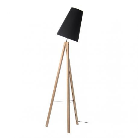 Splitit gulvlampe - Træben med sort lampeskærm - Frandsen