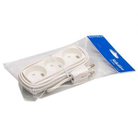 3-stikdåse m/2,5m ledning - Hvid