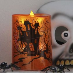 Halloween LED stearinlys m/timer - Orange