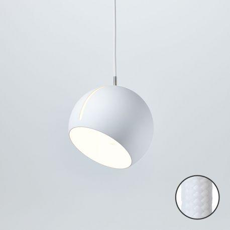 Tilt Globe pendel - Hvid med Hvid stofledning