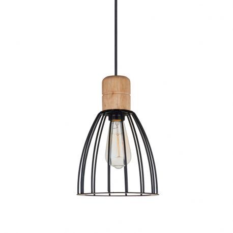 Cage pendel - Mat sort/lyst træ - Ø20 - Halo Tech